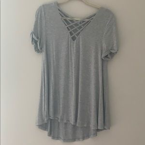 Gray flowy top with chest detail